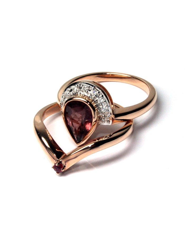 18ct Rose Gold, 1.34ct Tourmaline and Diamond Engagement Ring