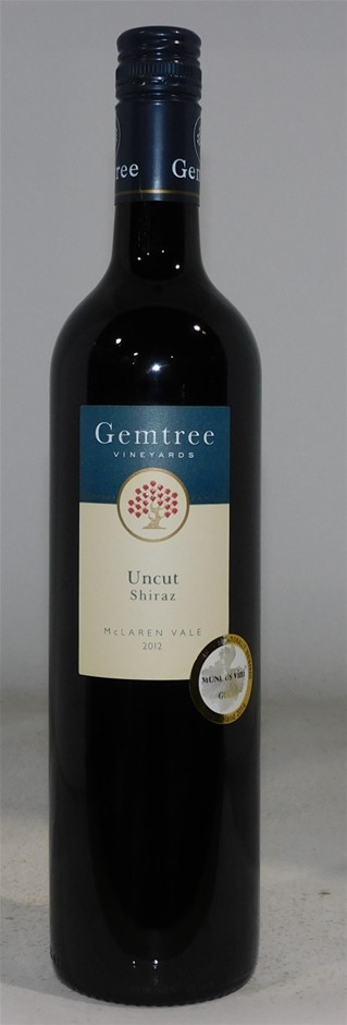 Gemtree Vineyards Uncut Shiraz 2012 (6x 750mL), McLaren Vale. Screwcap.