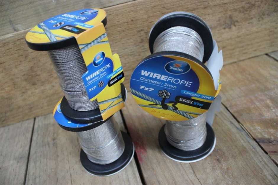 4 x Roll Of Zenith Stainless Steel 316 Wire Rope 2mm x 30Meters 7 x 7