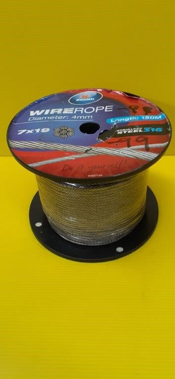 Zenith Wire Rope 4mm Stainless Steel 316 Length 150 Meters 7 x 19