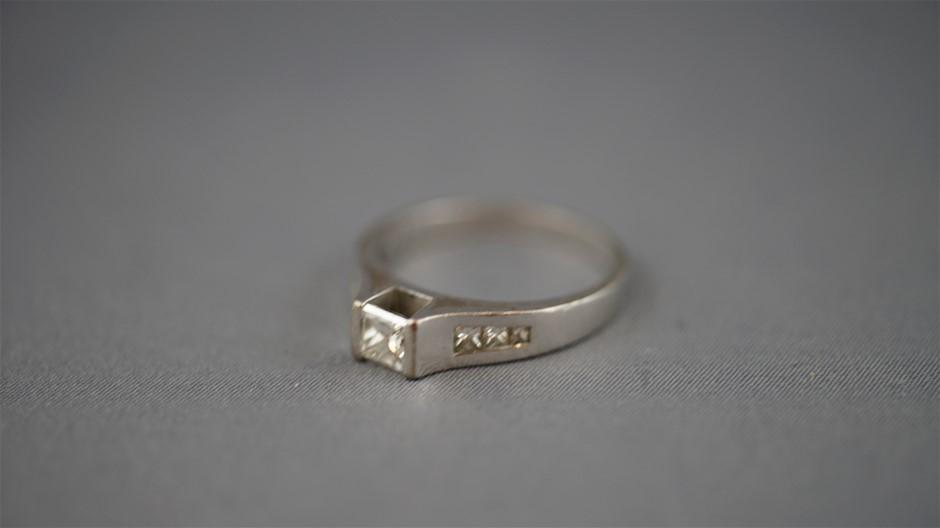 Tested White Gold Diamond Ring