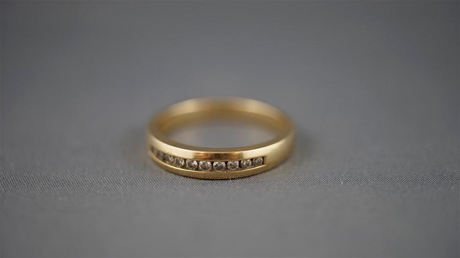 Stamped 10K Yellow Gold/Diamond Set Band Ring