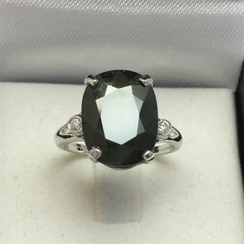 18ct White Gold, 9.17ct Green Sapphire and Diamond Ring