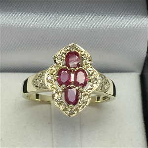 9ct Yellow Gold, 0.84ct Ruby and Diamond