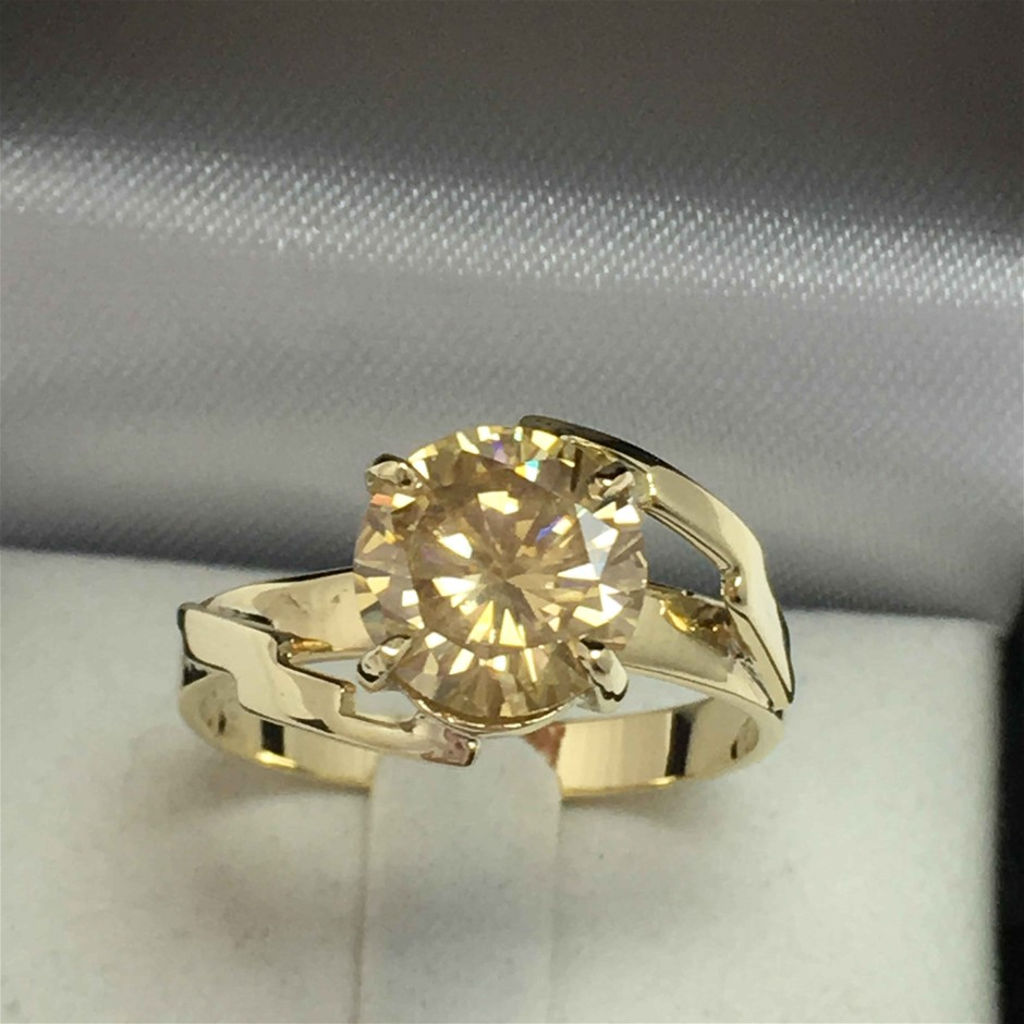9ct Yellow Gold, 2.56ct Moissanite Ring