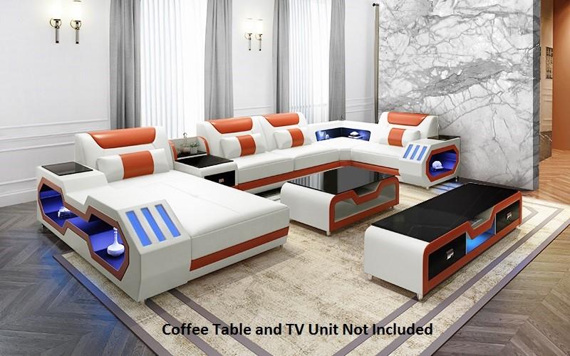 Elegance Euro Design Bonded Leather Modular Lounge & Chaise White & Orange