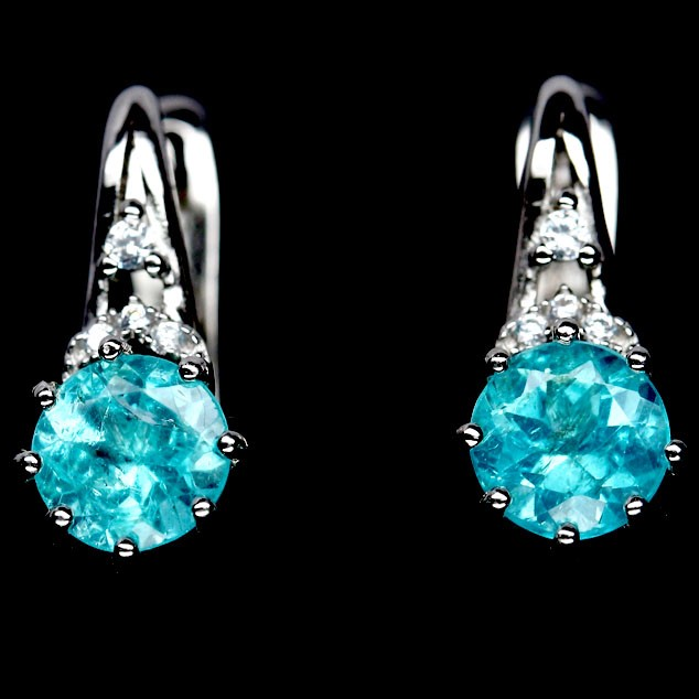 Striking Genuine Neon Blue Apatite Huggie Earrings