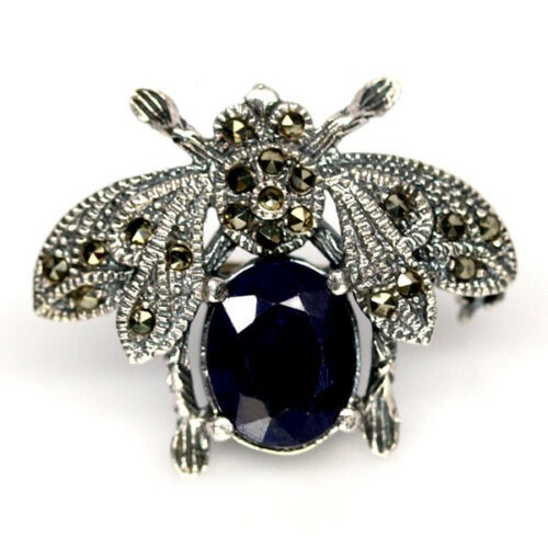 Unique Genuine Midnight Blue Sapphire Bee Brooch/ Pendant.