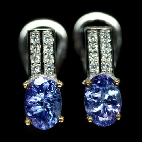 Delightful Genuine Tanzanite Huggie Earrings.