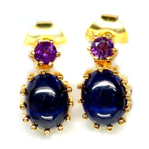 Striking Genuine Sapphire & Amethyst Drop earrings.