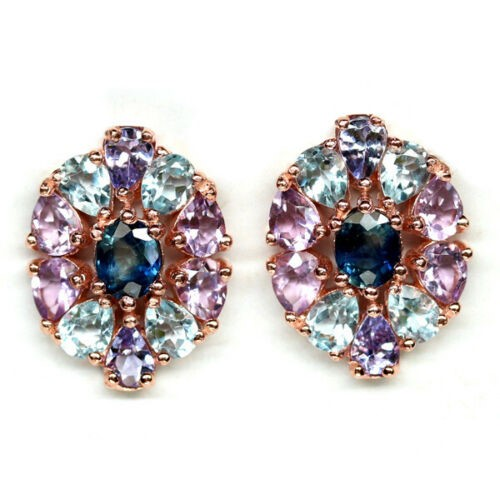 Stunning Genuine Tanzanite Sapphire Amethyst Topaz Stud Earrings