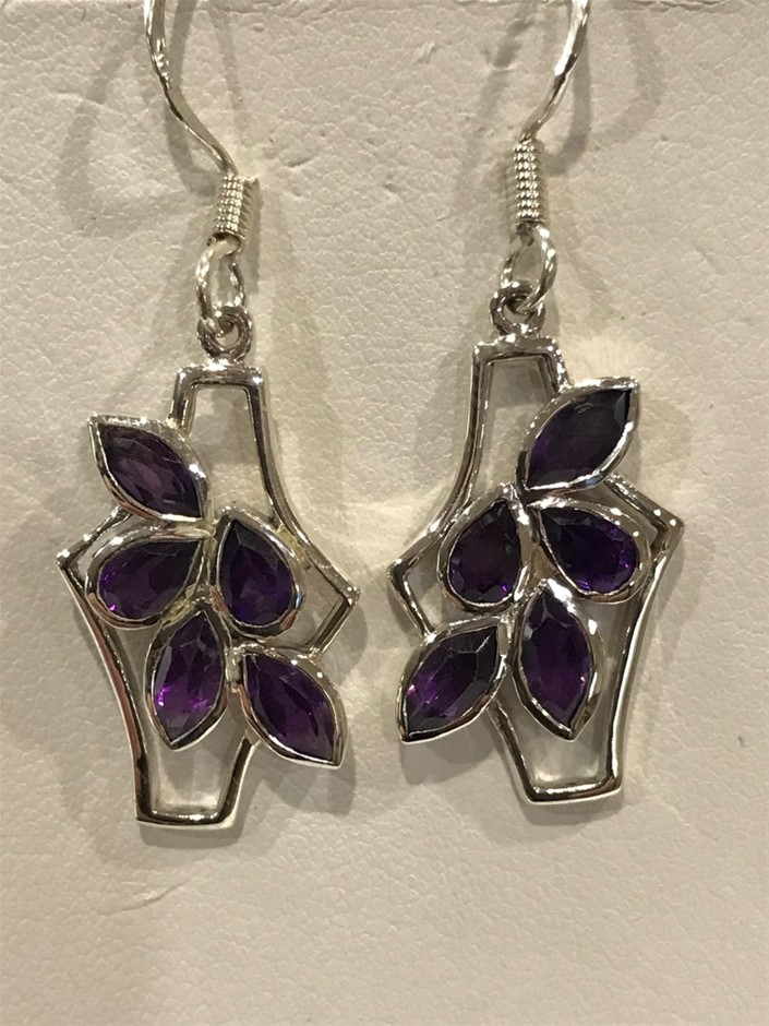 Stunning Genuine Amethyst 4.22ct Drop Earrings