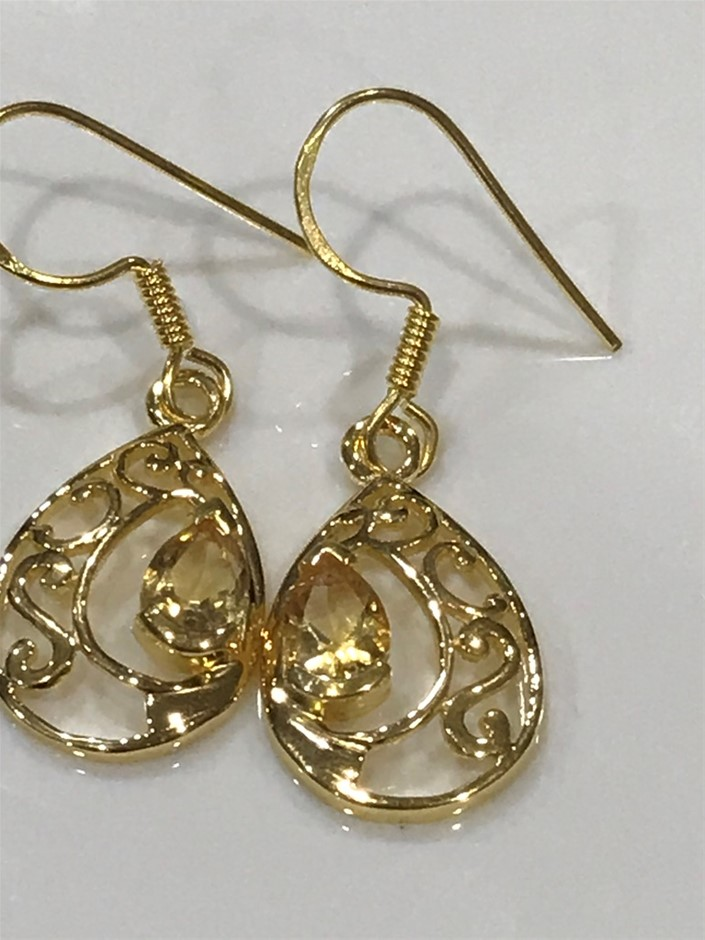 Eye Catching Citrine & 18K Gold Vermeil Earrings