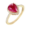 9ct yellow Gold, 1.80ct Ruby and Diamond Ring