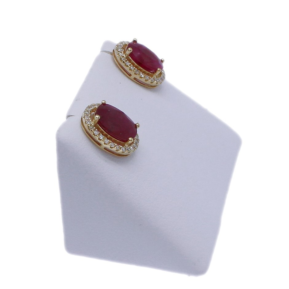 9ct Yellow Gold, 5.06ct Ruby and Diamond Earrings