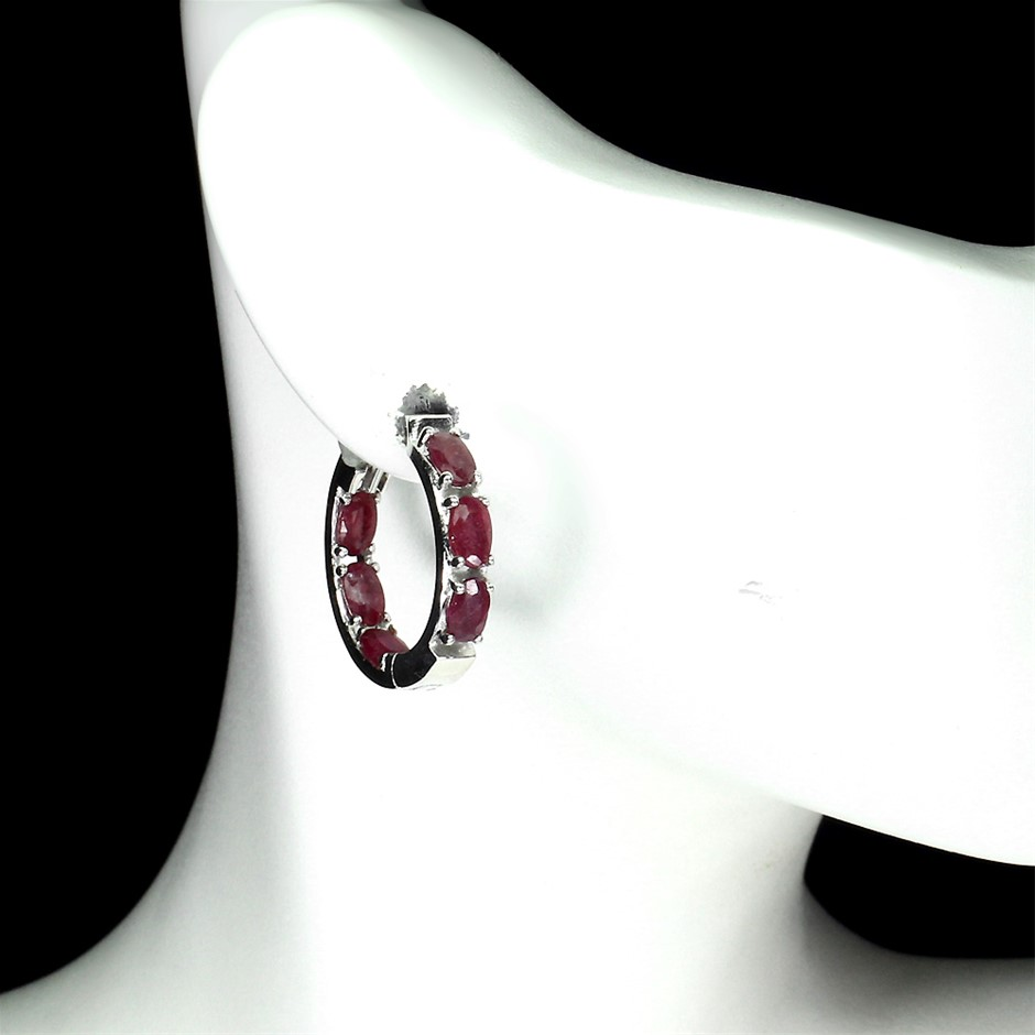 Gorgeous Genuine Ruby Hoop Earrings