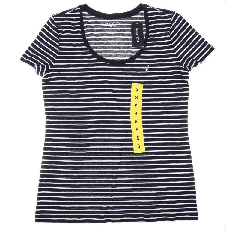 2 x Women`s NAUTICA Crew-Neck T-Shirts, Size L, 95% Cotton & 5% Elastane, N