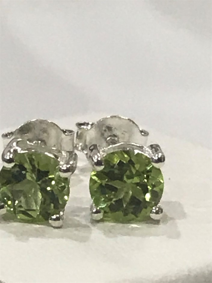 Stunning Genuine 1.20ct Peridot Stud Earrings