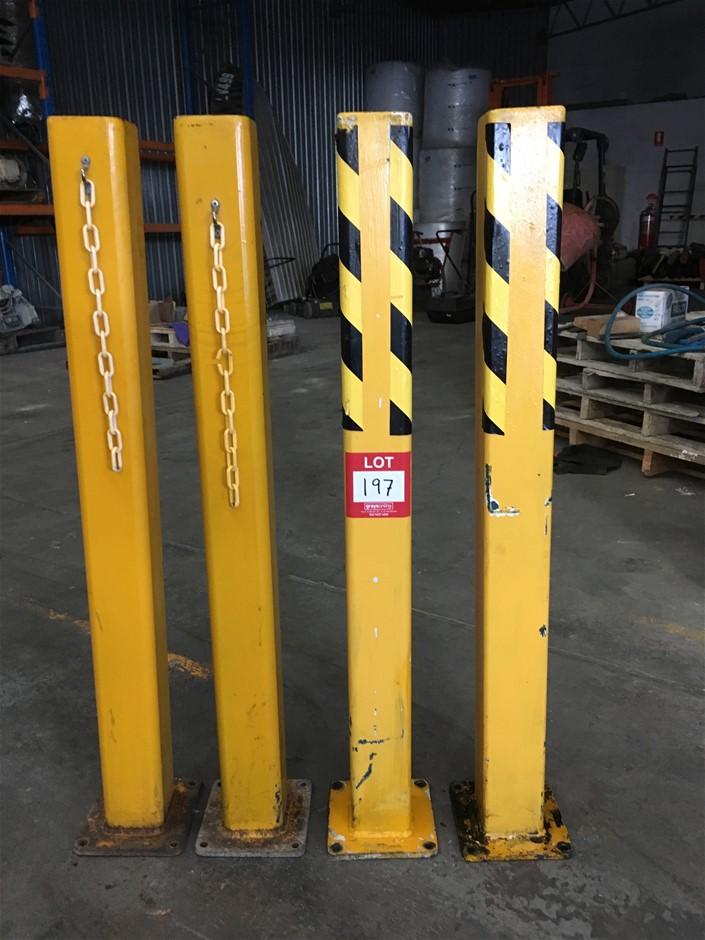 4 x Yellow Heavy duty Bollards (1125mm H x 100mm squ.) .