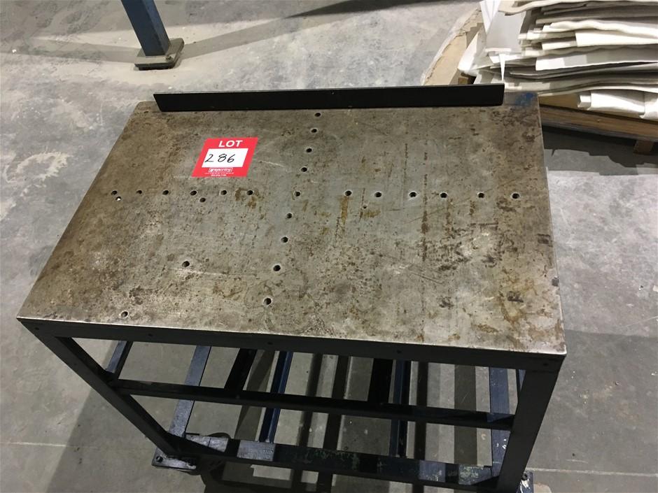 Steel Table on Wheels, MD Steel Top (770mm H, 760mm W, 510mm D)