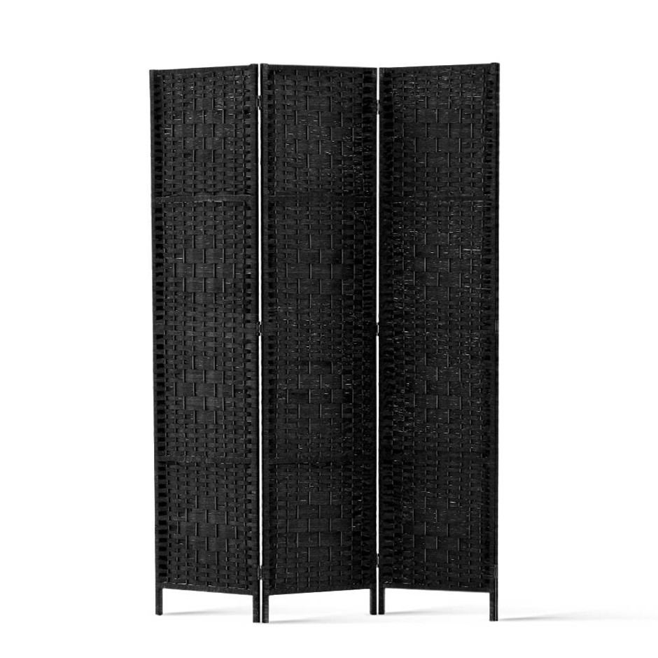Artiss 3 Panel Room Divider Privacy Screen Rattan Frame Stand Woven Black