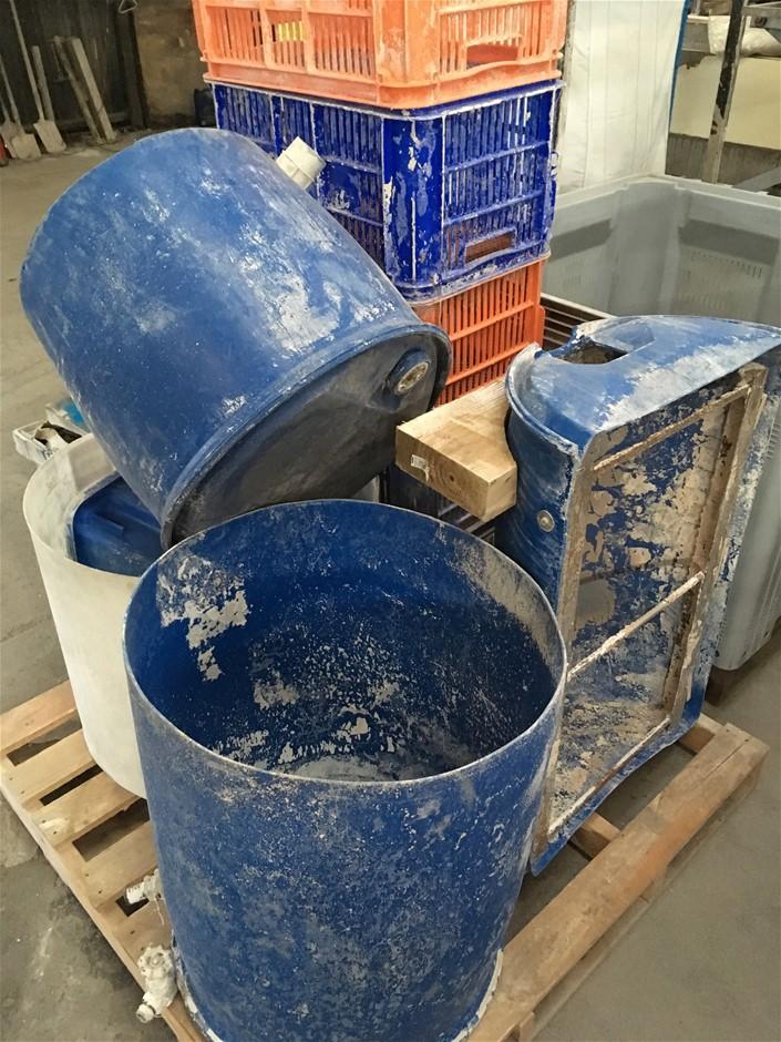 Assorted Barrels. Plastic Crates