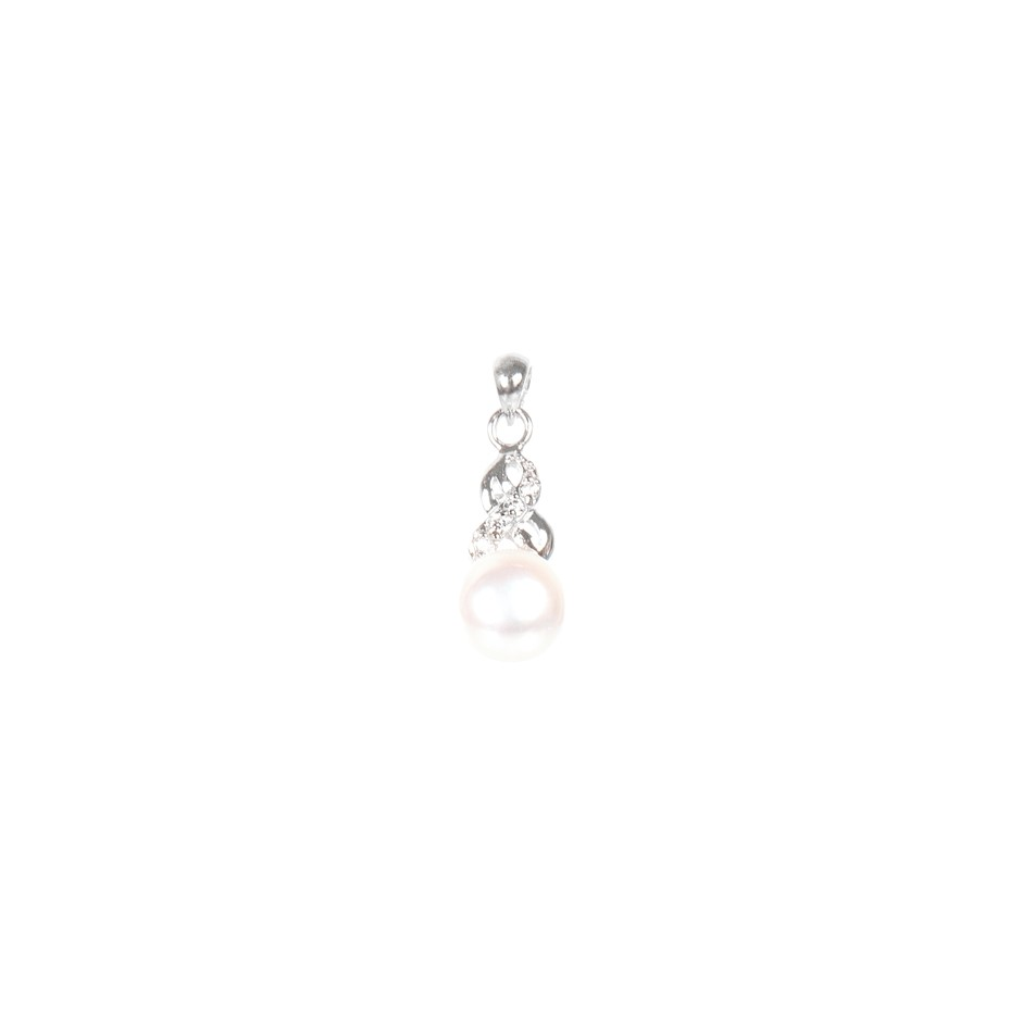 Natural Freshwater White Pearl & Cubic Zirconia Set Pendant