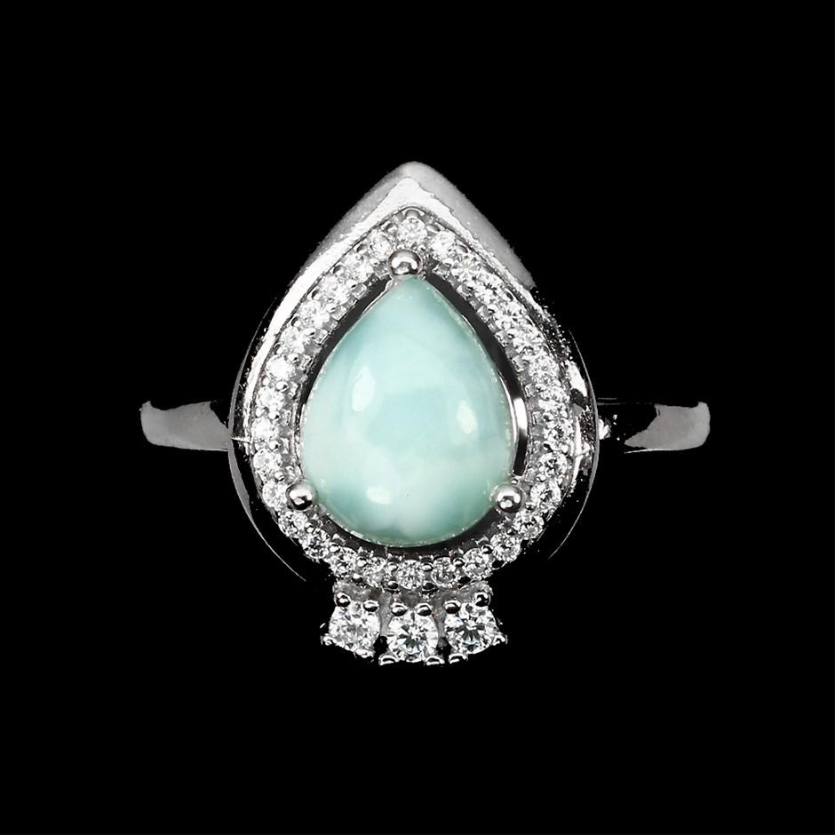 Stunning Genuine Larimar Ring.