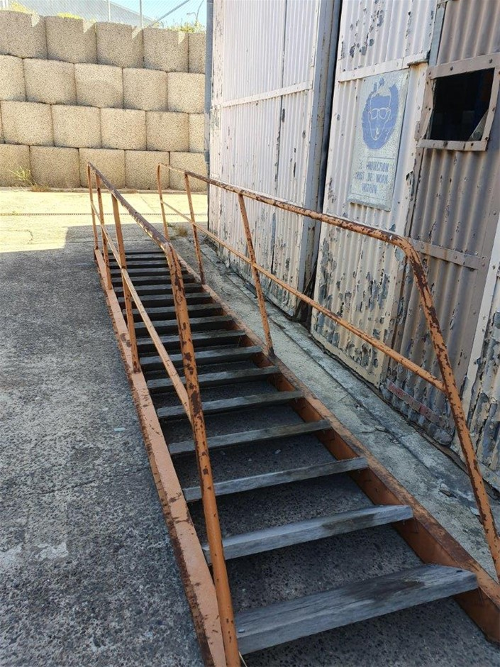 Metal stairs with hardwood treads
