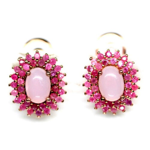 Wonderful Rose Gold Opal & Pink Ruby Earrings.