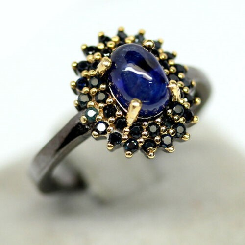 Oval Shape Deep Blue Sapphire Two Tone Ring Size 'L'