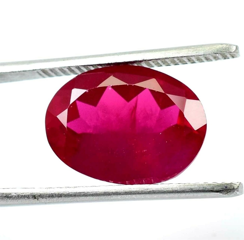 9.55 ct. Oval Cut Pink-Red Ruby