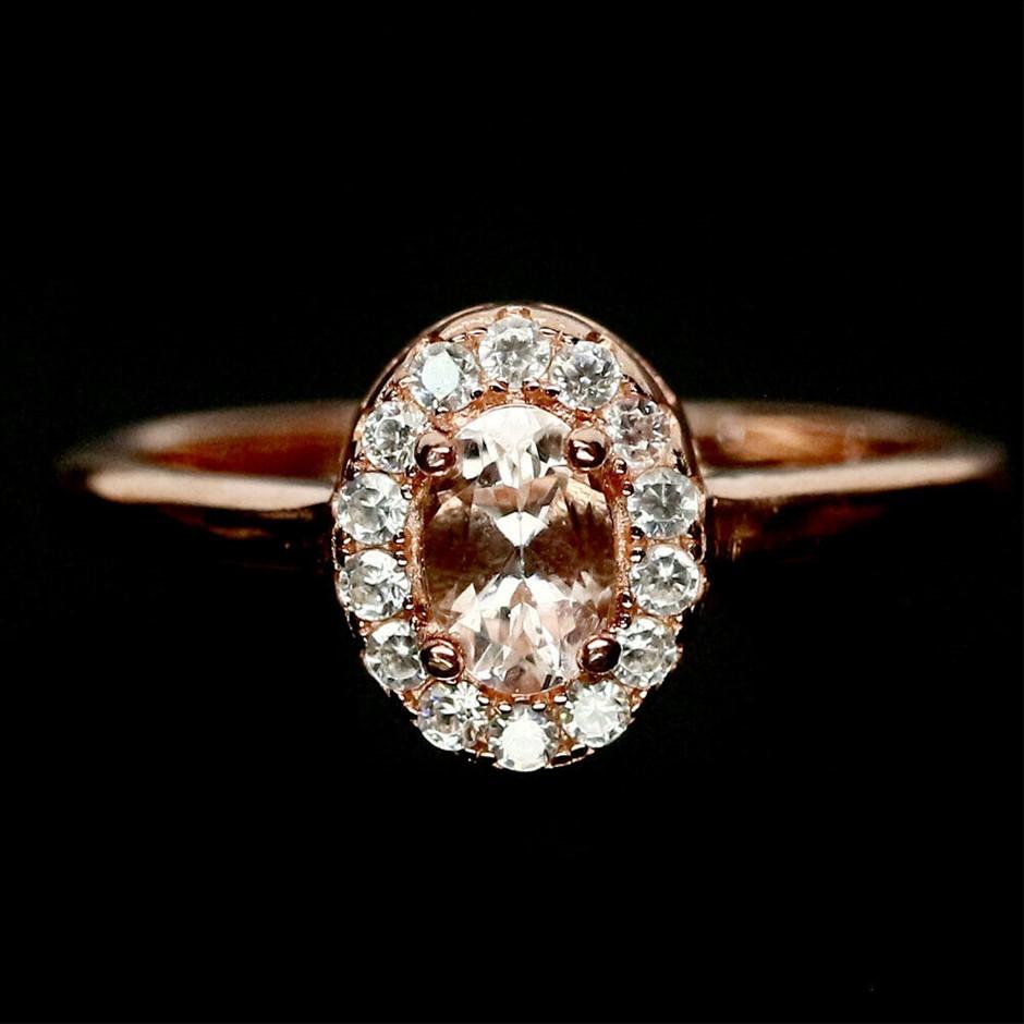 Rose Gold Light Pink Morganite Ring Size 'P'