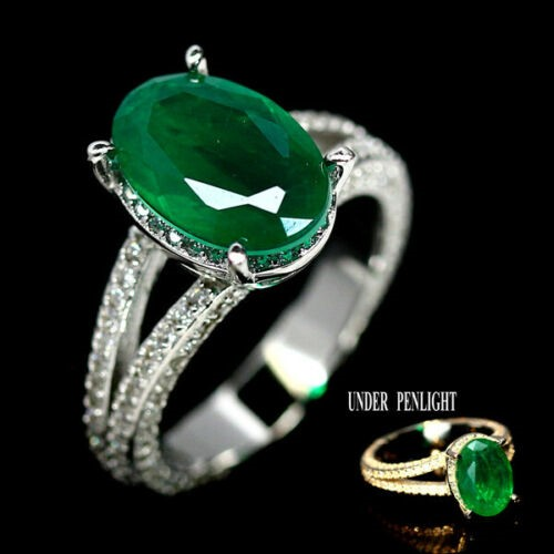 Gorgeous Forest Green Doublet Emerald Ring. Size 'M'