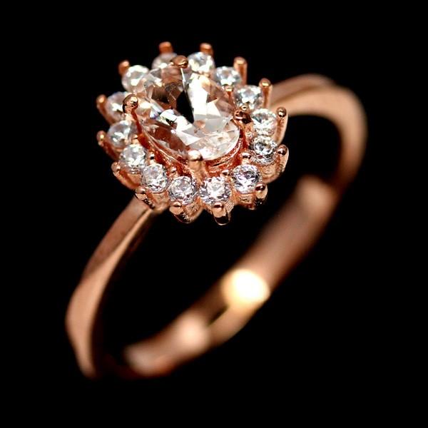 Genuine Morganite Solitaire Ring.