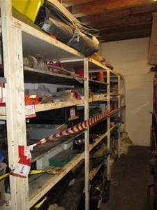 Fabricated Steel Shelf and Contents