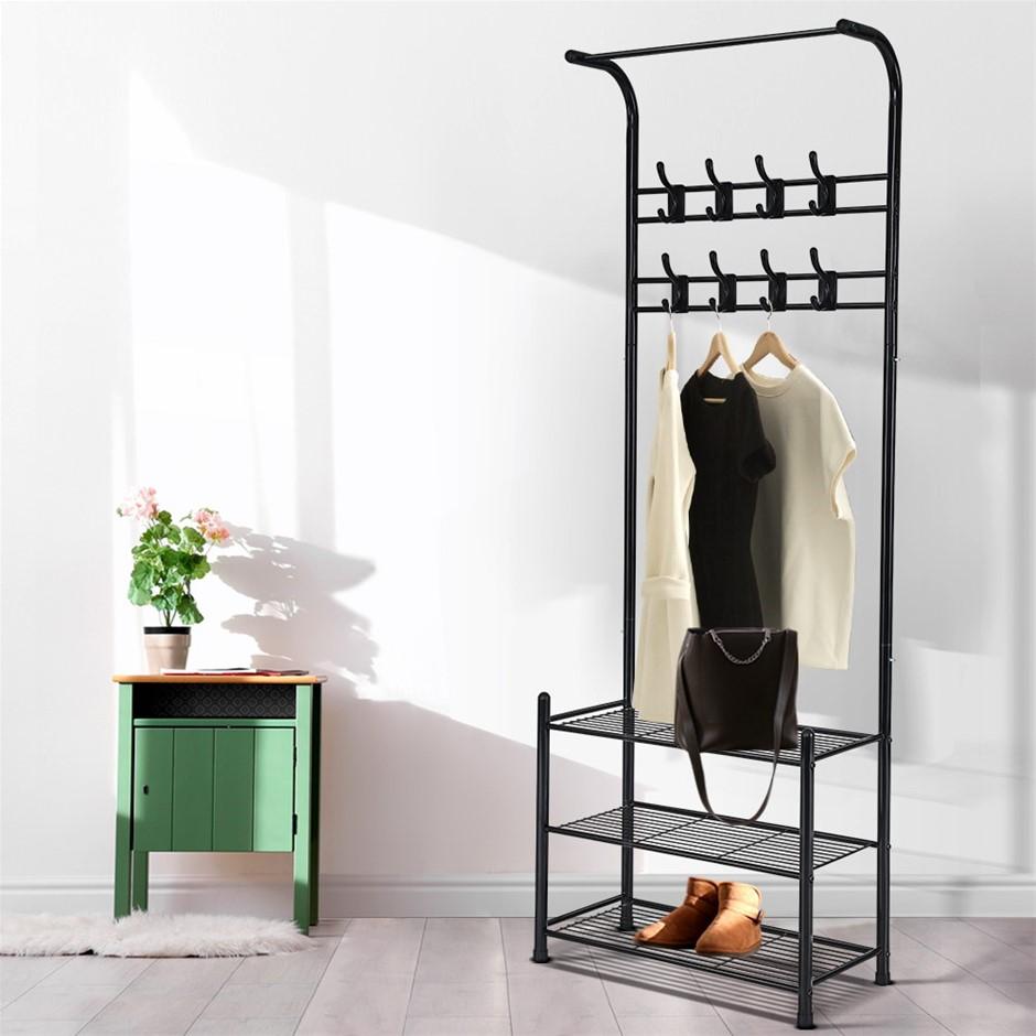 Artiss Clothes Rack Coat Stand Portable Hanger Airer Organiser Metal Black