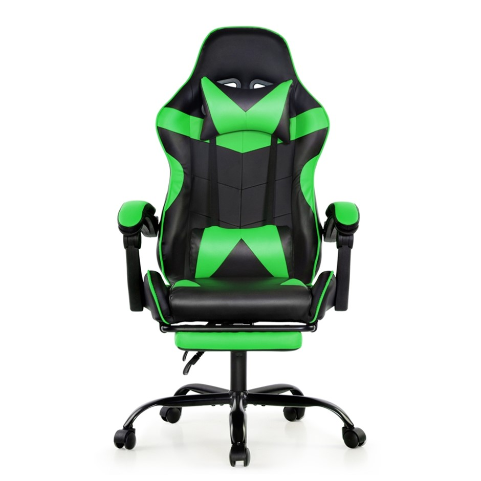 Artiss Office Chair Gaming Chair PU Leather Seat Armrest Black Green