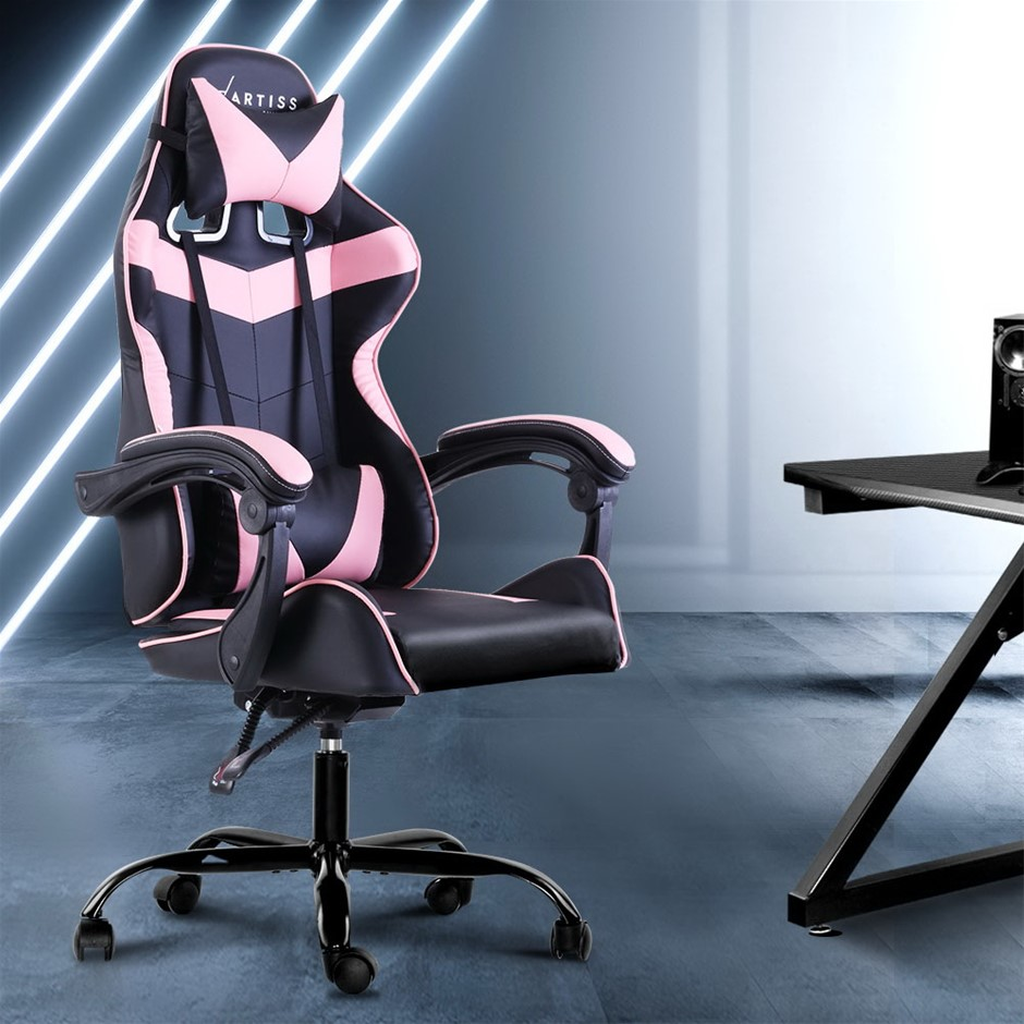 Artiss Office Chair Gaming Chair PU Leather Seat Armrest Black Pink
