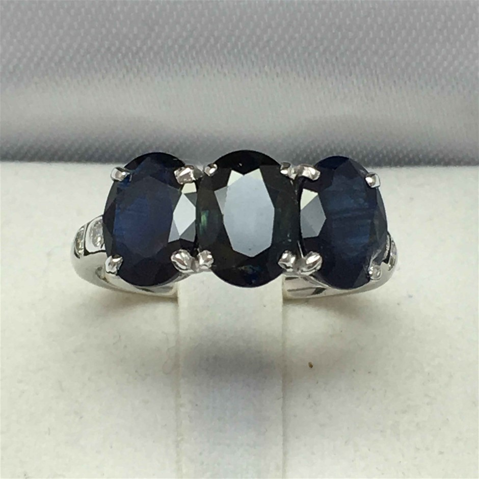 18ct White Gold, 4.72 Blue Sapphire and Diamond Ring