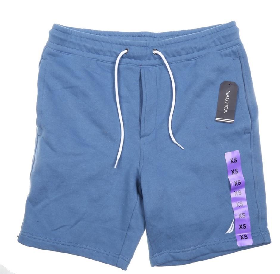NAUTICA Men`s Sweat Shorts, Size XS, Cotton/Polyester, Light Blue. Buyers N