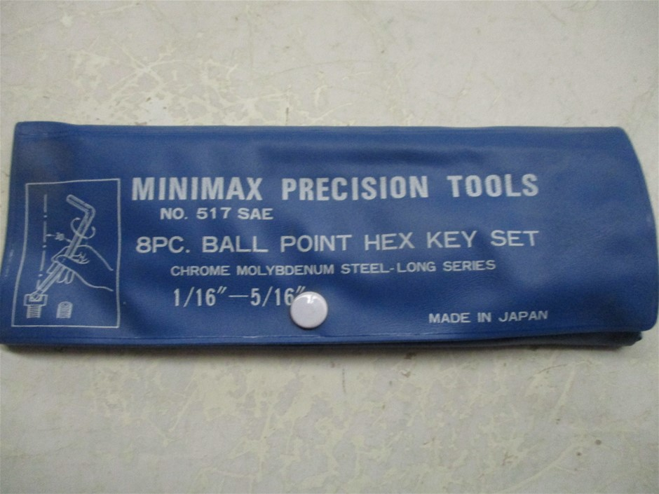 1x Bag of Minimax 8 Piece Imperial Ball Point Hex Key Sets