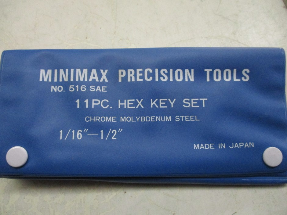 1x Carton of Minimax 11 Piece Imperial Hex Key Sets in Plastic Wallet