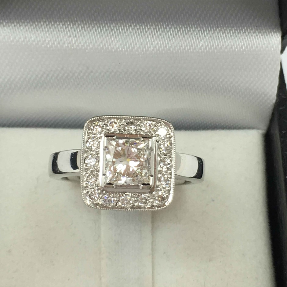 18ct White Gold, 1.28ct ADGL Diamond Engagement Ring