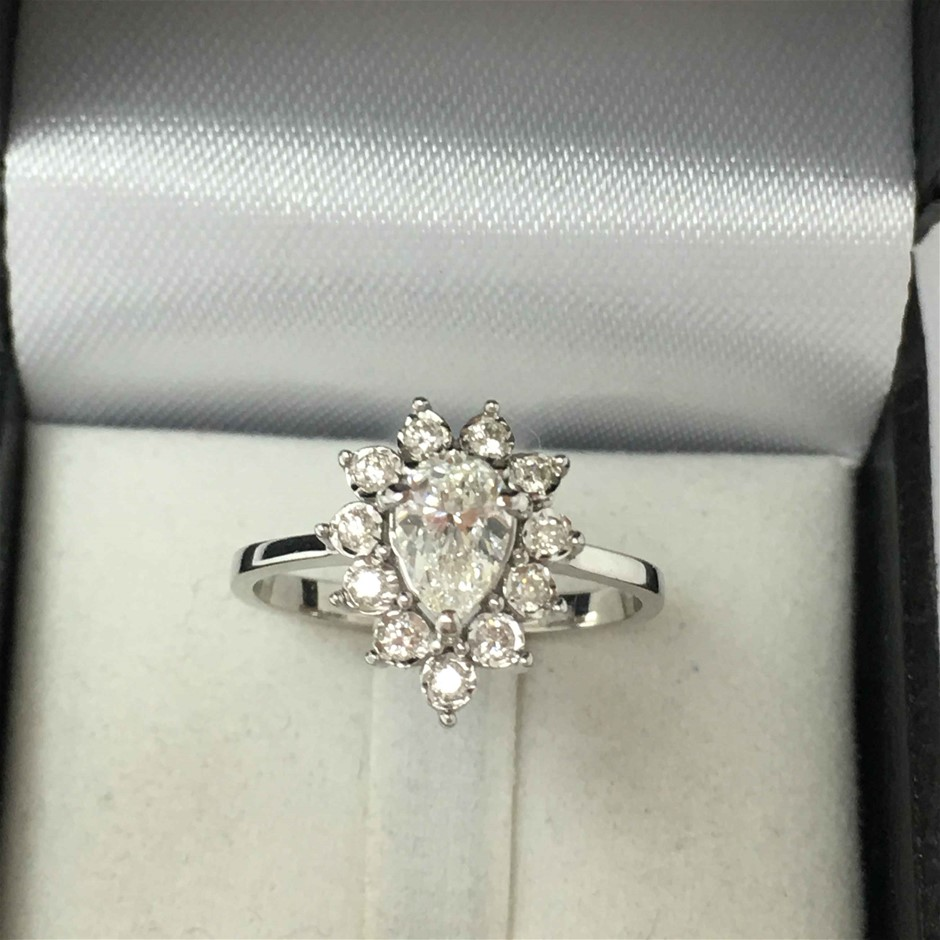 18ct White Gold, 0.83CT BGL Diamond Engagement Ring