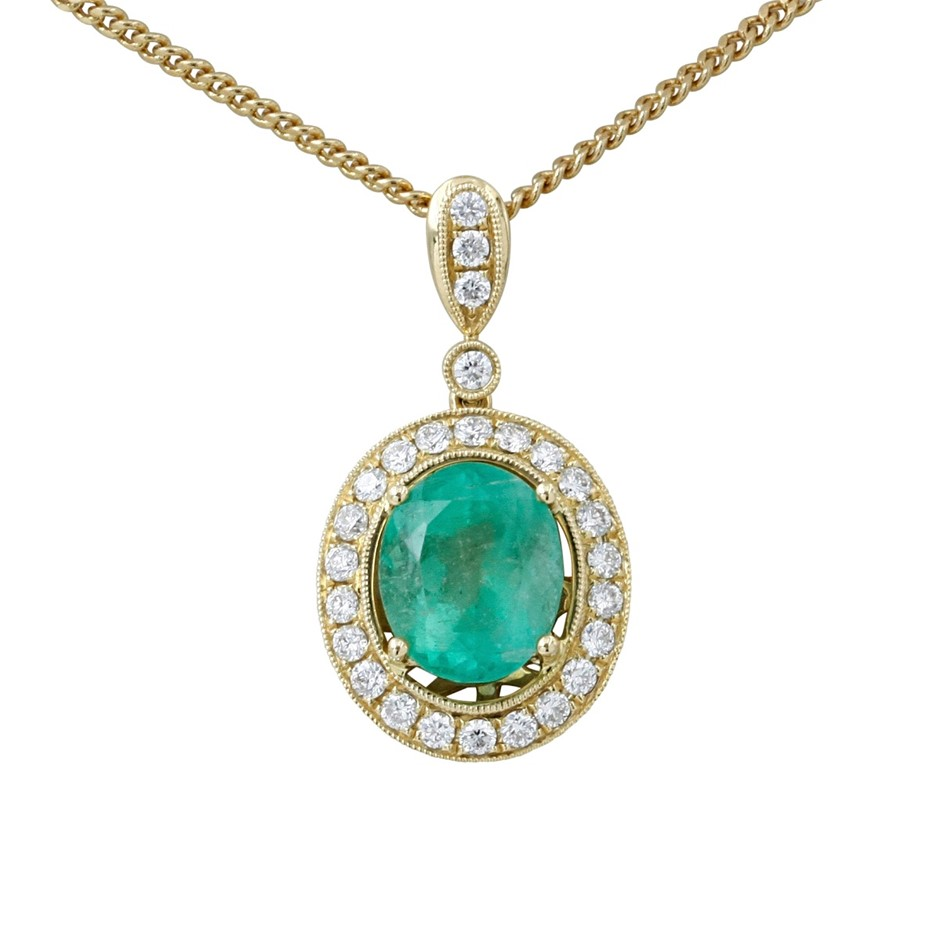 18ct Yellow Gold, 4.33ct Emerald and Diamond Pendant