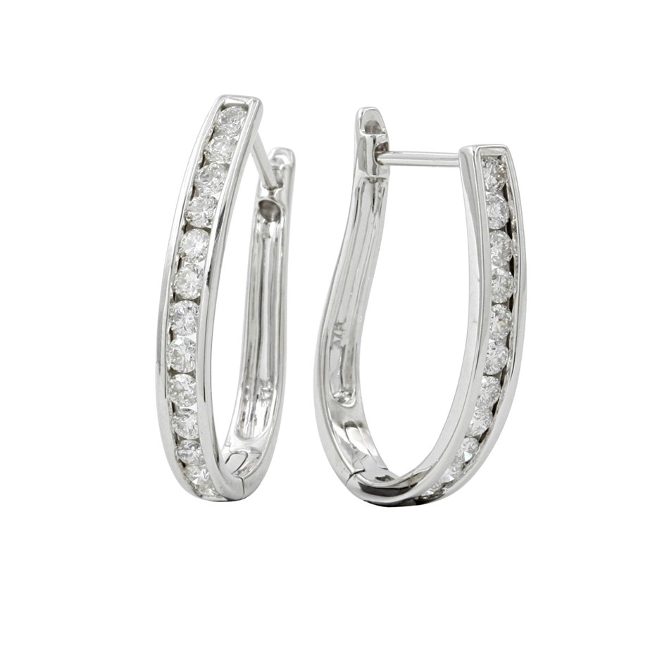 9ct White Gold, 1.02ct Diamond Earring