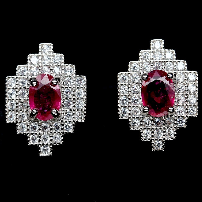 Beautiful Genuine Ruby Stud Earrings.