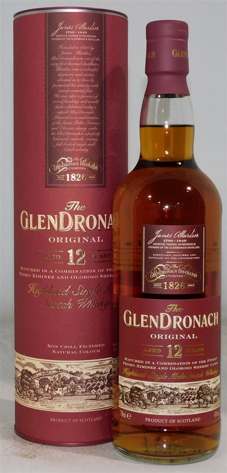 Glendronach 12 Scotch Whisky NV (1x 700mL), Scotland. Cork closure.