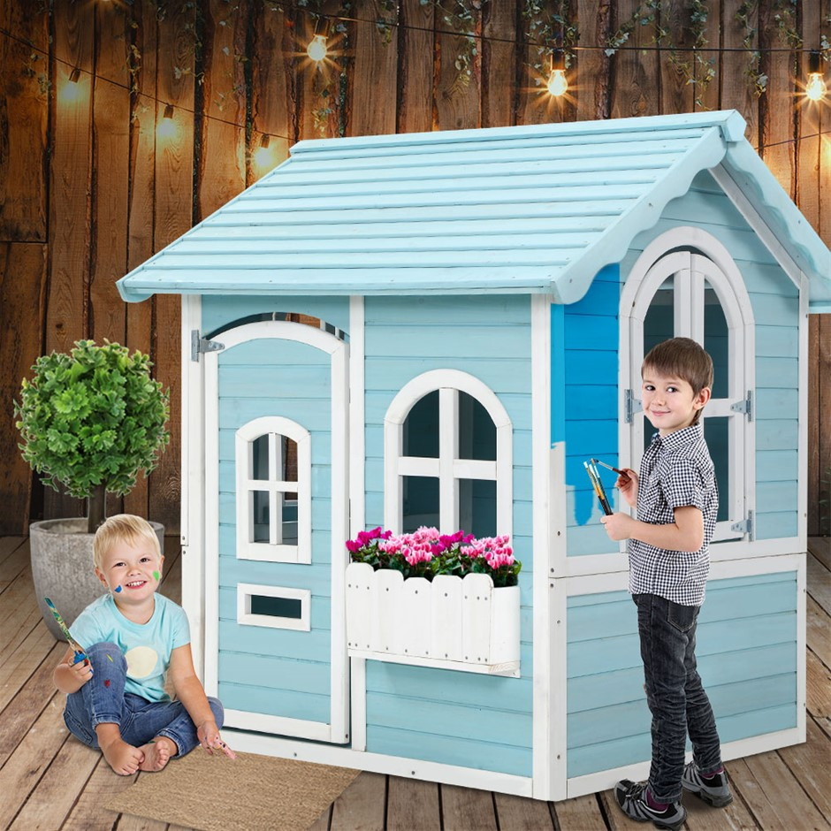 Keezi Kids Wooden Cubby House Outdoor Playhouse Pretend Play Set Toy